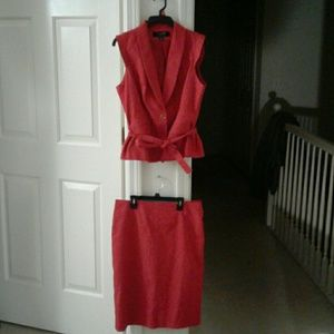 EUC red business suit by Signature by Larry Levine